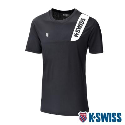 K-SWISS Contrast Panel Tee涼感排汗T恤-男-黑