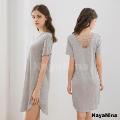 Naya Nina 輕柔涼感冰絲微露挖背無鋼圈BRA罩杯短袖居家服睡裙(質感灰)