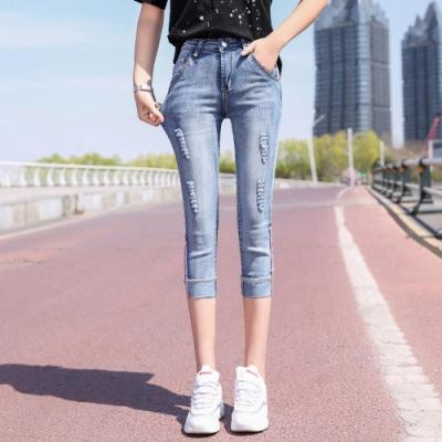 ALLK 彈性刷破7分牛仔褲 淺藍色(尺寸27-31腰)