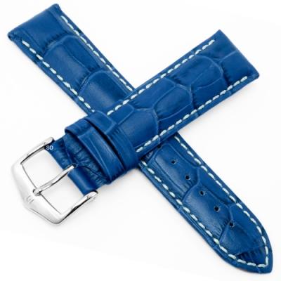 海奕施 HIRSCH Modena L小牛皮壓紋手錶帶-深藍