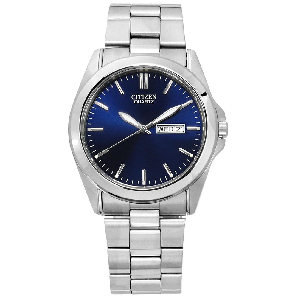 CITIZEN 時尚簡約 日期星期 礦石強化玻璃 日本機芯 不鏽鋼手錶-藍色/39mm