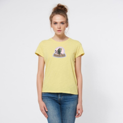 JEEP 女裝 美式風格休閒短袖TEE-檸檬黃