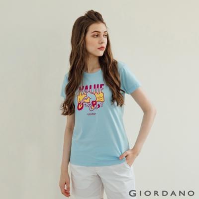 GIORDANO 女裝Hope印花T恤 - 41 酷藍