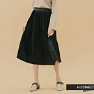 H:CONNECT 韓國品牌 女裝 - 絨面百褶中長裙  - 黑