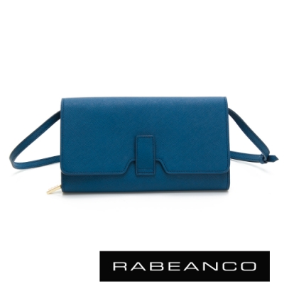 RABEANCO 迷時尚壓扣橫紋斜背/手拿皮夾包 牛仔藍