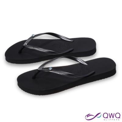 QWQ 女款水鑽人字拖鞋-鞋帶保固-防滑耐磨-時尚拖鞋-藍色圓面小鑽-曜石黑(AAVP)
