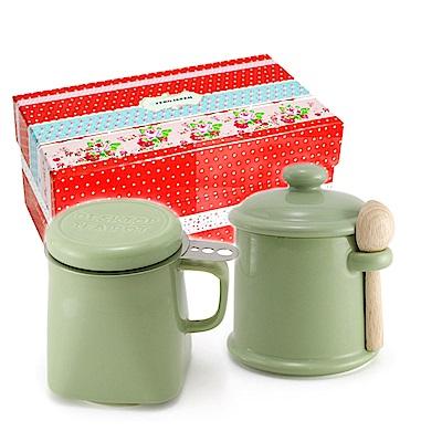 ZERO JAPAN 陶瓷儲物罐+泡茶馬克杯超值禮盒組(大地綠)