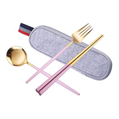 葡萄牙風格不鏽鋼環保餐具套組(三件組) / 環保餐具 筷子 湯匙 叉子