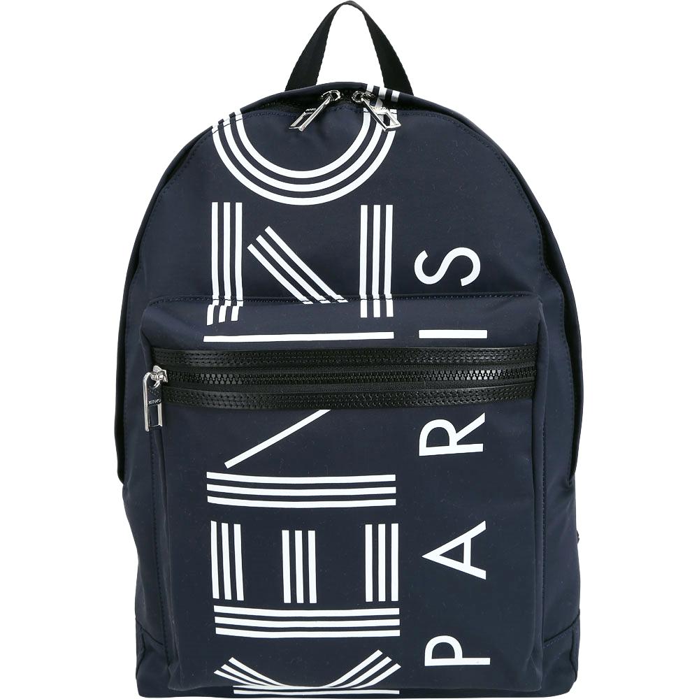 KENZO 大款 品牌幾何LOGO尼龍後背包(深藍色) @ Y!購物