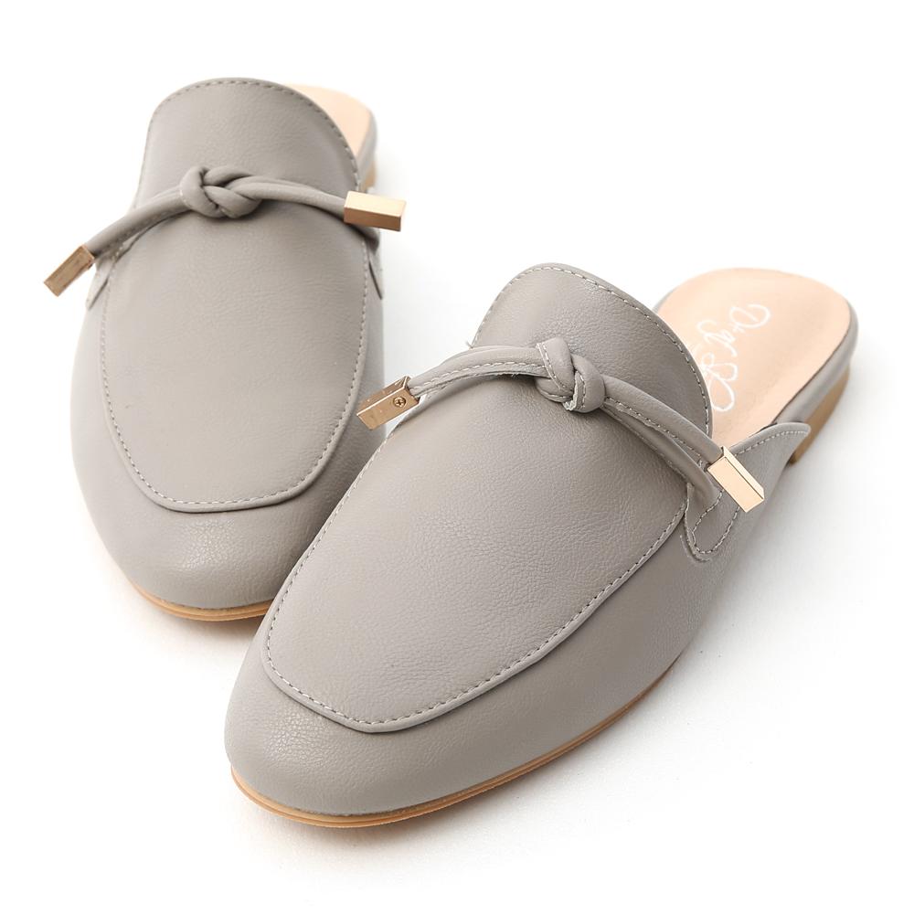 D+AF 輕快節奏.小金飾綁結平底穆勒鞋*灰