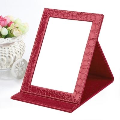 幸福揚邑  9吋超大皮革折疊鏡時尚質感隨身彩妝美妝化妝鏡/桌鏡 (鱷皮紋紅色)