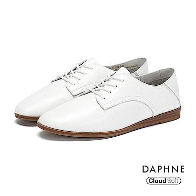 達芙妮DAPHNE 休閒鞋-真皮綁帶拼接牛津踩腳休閒鞋-白