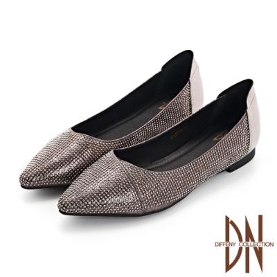 DN跟鞋_耀眼水鑽點綴真皮尖頭低跟鞋-銀灰