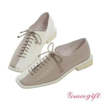 Grace gift X Mandy -聯名方頭縫飾細節低跟牛津鞋 白它料