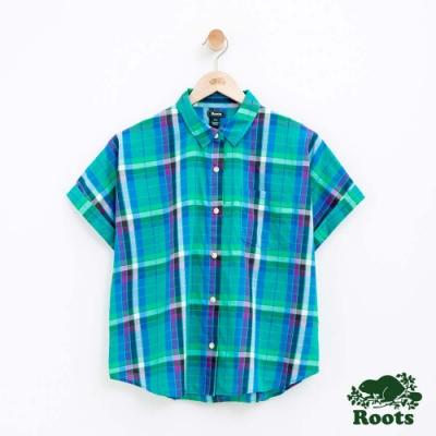 女裝Roots 馬德拉斯格紋短袖襯衫-綠