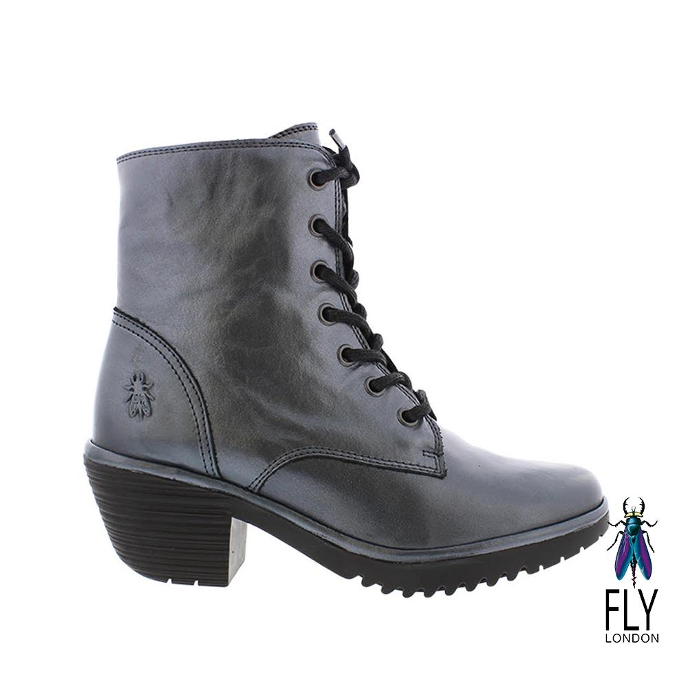 Fly London(女) 吉普賽的足跡 粗跟綁帶牛皮短靴-極光銀 @ Y!購物
