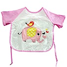 QBabe 塗鴉短袖防水畫畫吃飯寶寶罩衣-粉色大象