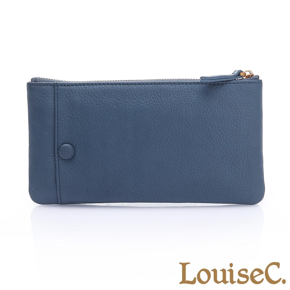 LouiseC. 植鞣牛皮 拉鍊長夾/可拆式卡片夾-藍 HGSB710528-09