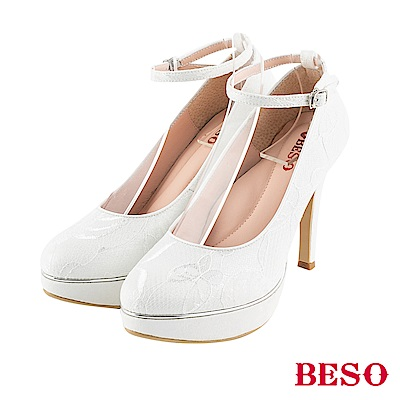 BESO 夢幻蕾絲 2way防水台高跟鞋~白