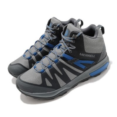 Merrell 戶外鞋 Zion FST Waterproof 男鞋 登山 越野 中筒 防水 耐磨 避震 灰 藍 ML035345