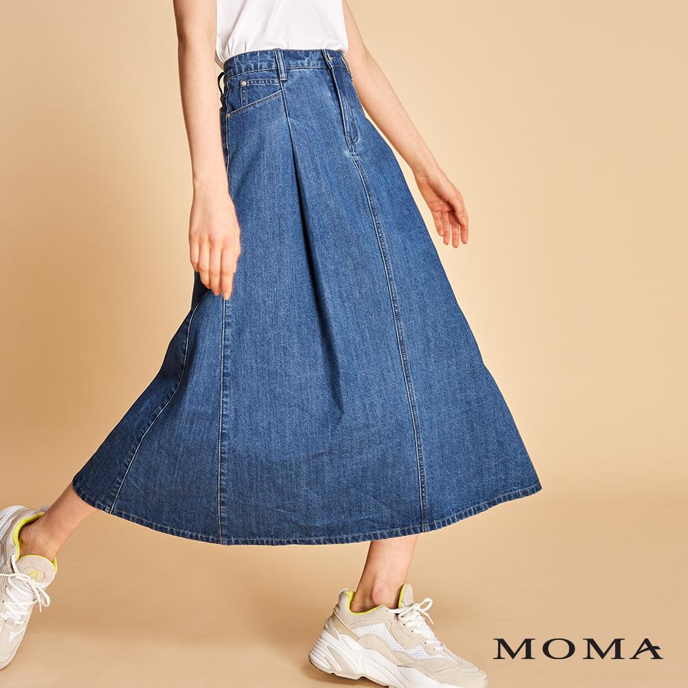 MOMA 打褶A line牛仔裙