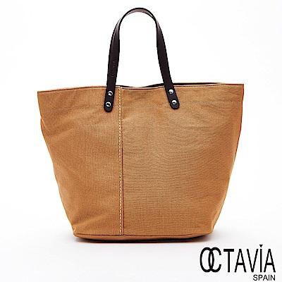 OCTAVIA8 - 春天的風 極簡自然帆布牛皮手提把托特包 - 小花黃