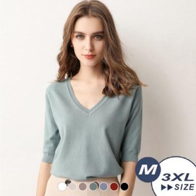 【LANNI 藍尼】柔系純色V領針織衫-7色(M-3XL)●