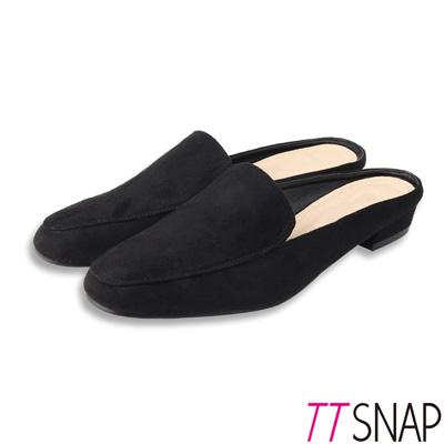 TTSNAP穆勒鞋-簡約線條半拖拉長修飾方頭鞋 黑