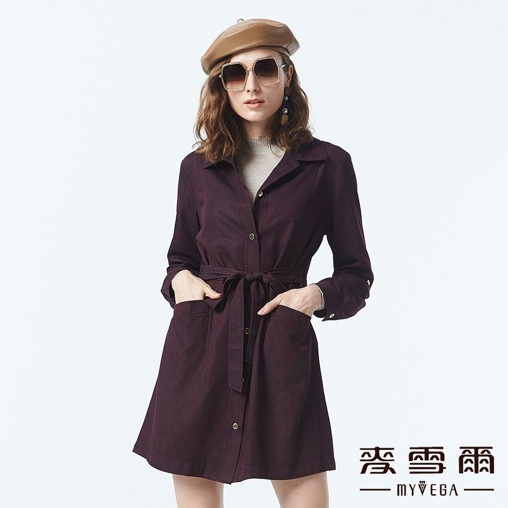 麥雪爾 純棉排扣長版襯衫-紫