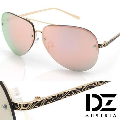 【2件59折】DZ 綣紋華雕鏡腳 防曬太陽眼鏡造型墨鏡(金框粉膜)
