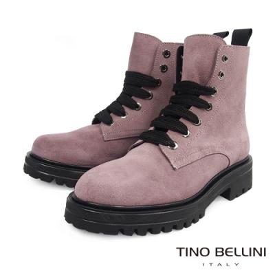 Tino Bellini西班牙進口亮眼全真皮綁帶工程短靴_粉