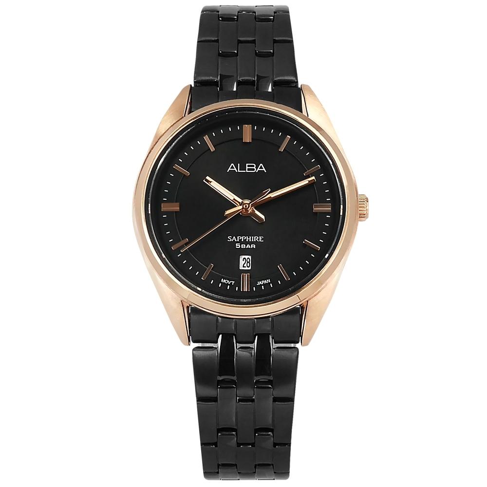 ALBA 優雅時尚 藍寶石水晶玻璃 日期 不鏽鋼手錶-黑x鍍玫瑰金框/29mm