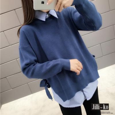 JILLI-KO 側邊綁帶兩件式針織上衣- 黑/藍