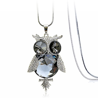 梨花HANA 灰水晶神秘貓頭鷹鑲鑽長項鍊