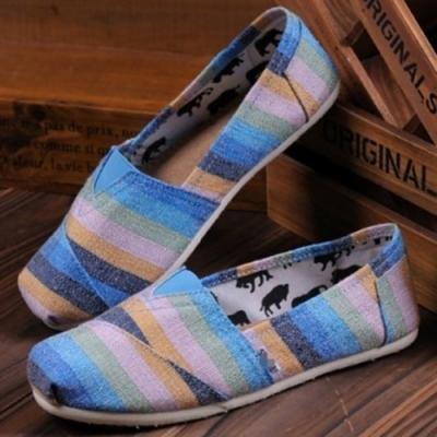 韓國KW美鞋館 (現貨+預購) 出遊必備彩色條紋懶人鞋-藍
