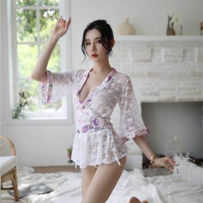 性感睡衣-典雅氣質蕾絲日式和服-EM衣柔魅姬-白色