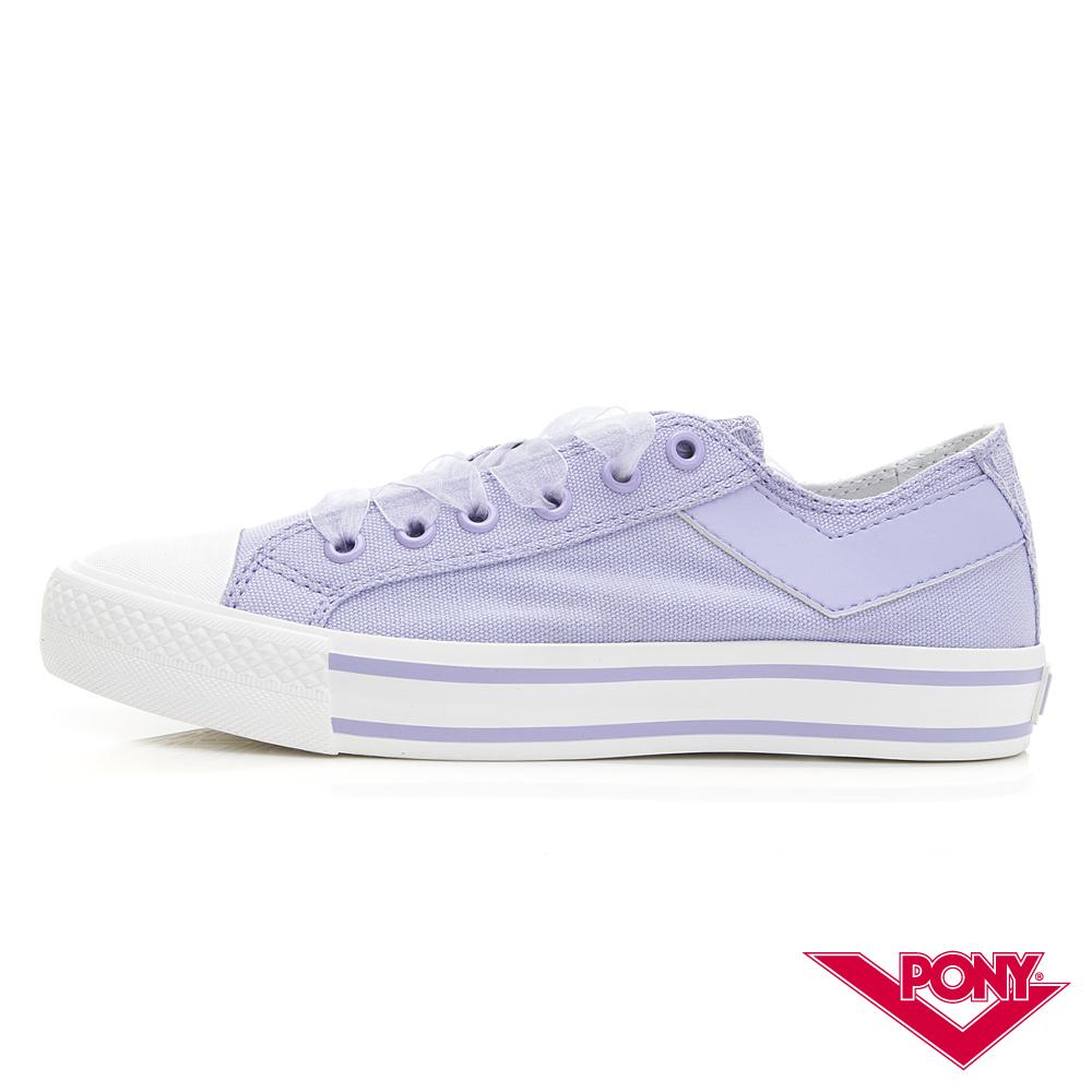 【PONY】Shooter蕾絲厚底帆布鞋 女鞋 粉紫色