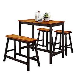 【AT HOME】美式輕工業胡桃黑色/原木白色吧台桌椅組(一桌三椅)兩色可選