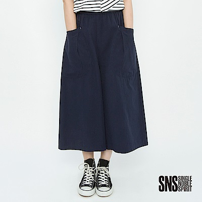 SNS 文青無印風大口袋八分寬管褲(2色)