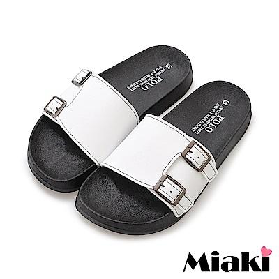 Miaki-拖鞋百搭雙扣平底涼拖鞋-白