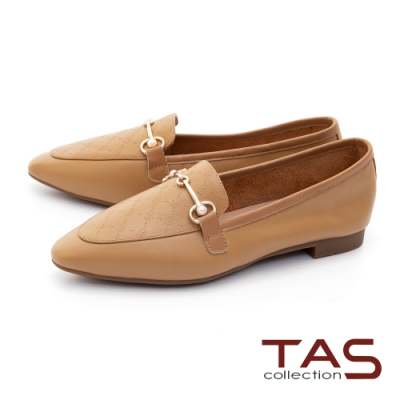TAS珍珠一字金屬飾釦牛皮樂福鞋–質感卡其