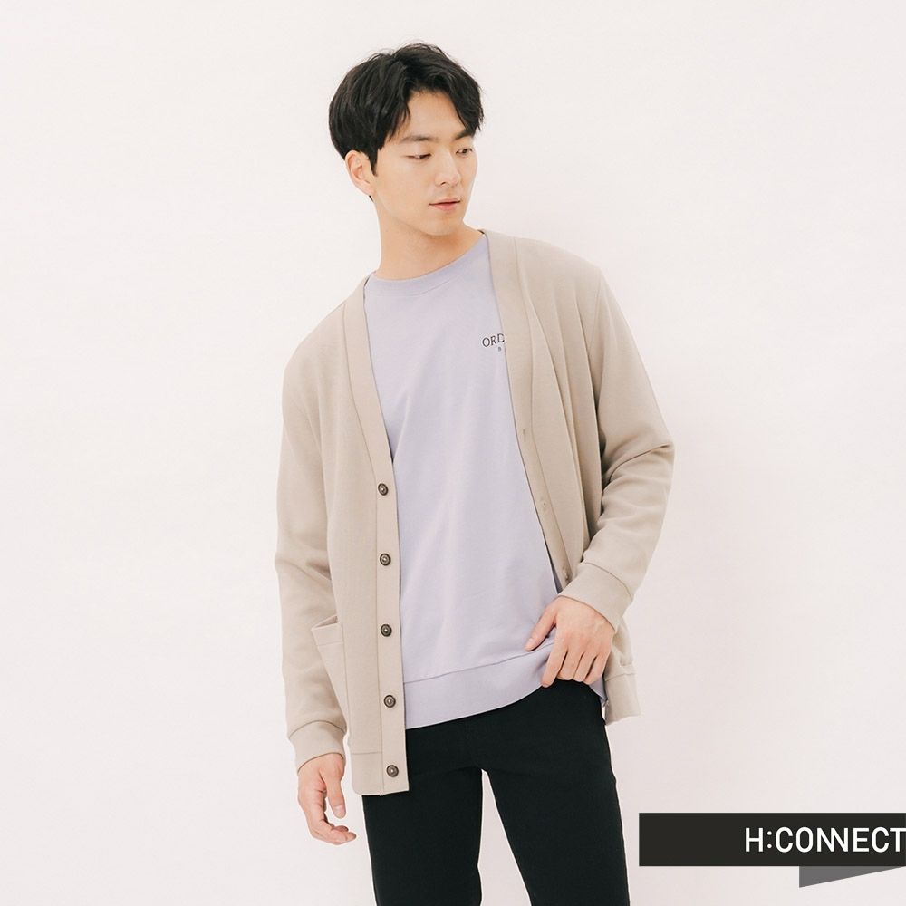 H:CONNECT 韓國品牌 男裝 - 簡約排扣雙口袋外套-卡其