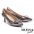 高跟鞋 MODA Luxury 個性時髦方釦全真皮尖頭高跟鞋-古銅