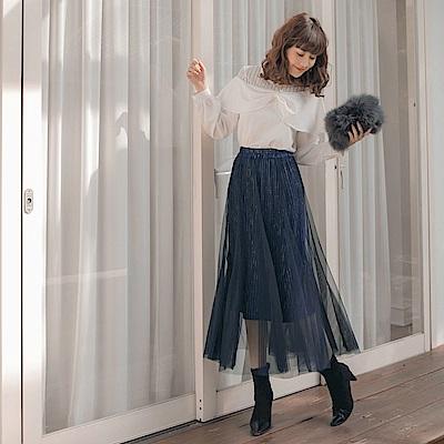 腰鬆緊金屬紗線光澤飄逸浪漫質感紗裙-OB大尺碼