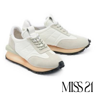 休閒鞋 MISS 21 經典拼接疊疊 EVA 厚底復古休閒鞋-白