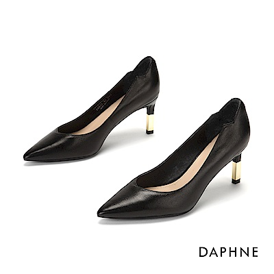 達芙妮DAPHNE 高跟鞋-柔軟真皮金屬拚接高跟鞋-黑