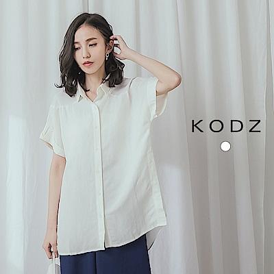 東京著衣-KODZ 浪漫優雅雪紡拼接棉麻襯衫上衣
