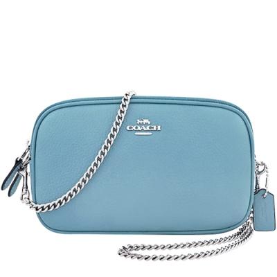 COACH 蒂芬妮藍色荔枝紋皮革鍊帶雙層斜背包