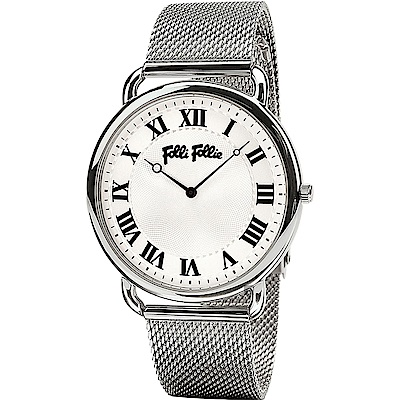 Folli Follie PERFECT 羅馬米蘭帶石英手錶-銀/40mm