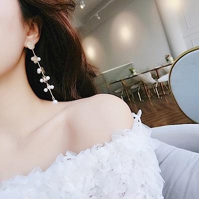 梨花HaNA 韓國甜美磨砂亮片珍珠長耳環